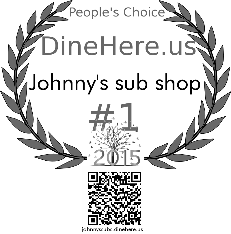 Johnny's sub shop DineHere.us 2015 Award Winner